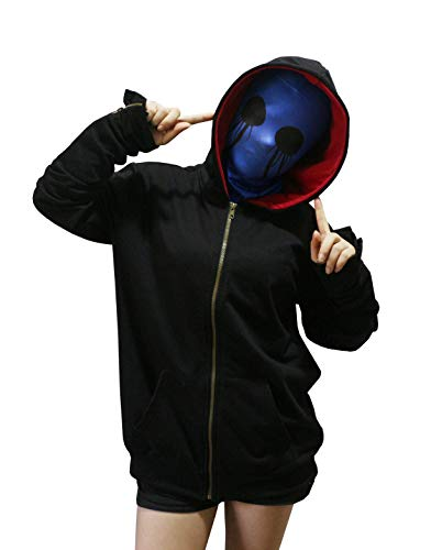 Cosplay Eyeless Jack Hoodie Unisex Thicken Pullover Jacket Sweater Cosplay Costume (M, Black Womens Size)