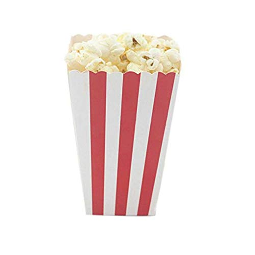 MuLuo 12PCS/Set Popcorn Box Candy Sanck Favor Bags Stripes Gift Bags Wedding Party Favor Kids Movie Party Supplies