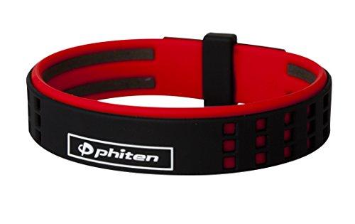 Phiten DUO Titanium Bracelet, Black/Red, 7.5-Inch