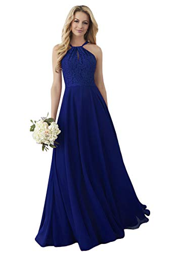 (Lianai Women's A-line Chiffon Bridesmaid Dresses Long Bridal Guest Dress for Wedding Royal Blue,2 )