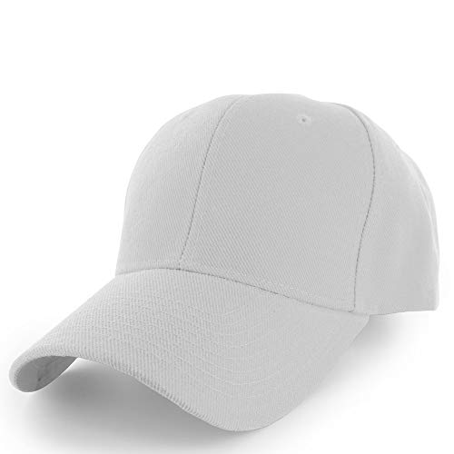 White Come Back Adjustable Hat - KANGORA Plain Baseball Cap Adjustable Men Women Unisex | Classic 6-Panel Hat | Outdoor Sports Wear (20+Colors) (White)