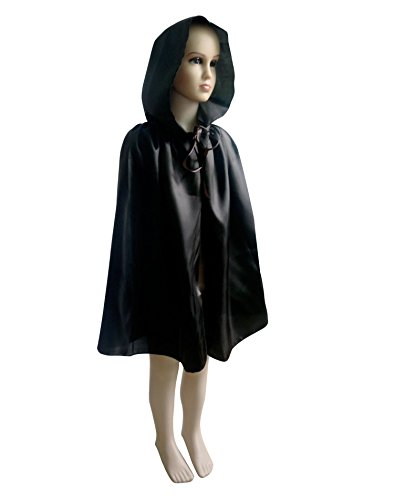 Shapenty Child Christmas Halloween Party Devil Death Hooded Cloak Vampire Costumes Capes for Kids (Small, Black)