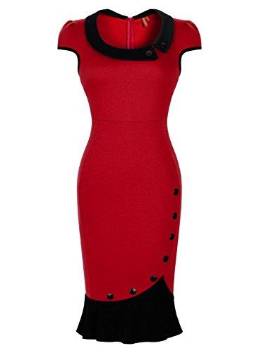 Miusol® Women's Scoop Neck Contrast Vintage Bridesmaid Cocktail Dress (Small, Red)