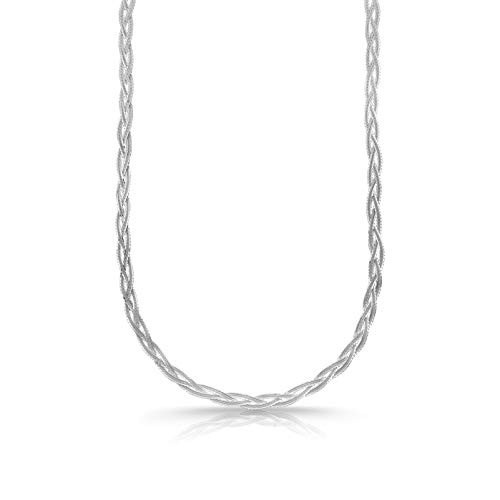 Verona Jewelers Sterling Silver Diamond Cut 3 Strand Row Herringbone Chain Bracelet and Necklace- 925 Braided Necklace and Bracelet, Braided Snake Chain (24, Silver)