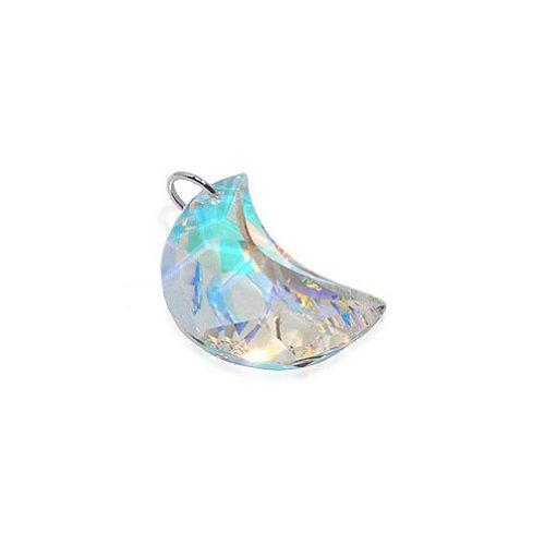 Gem Avenue Sterling Silver Half Moon Clear AB Crystal 2 x 12mm Swarovski Elements Pendant
