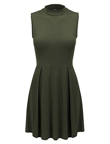 MBJ WDR1074 Womens Mock Neck Sleeveless Pullover Tunic Dress S OLIVE Sleeveless Mock Neck Pullover