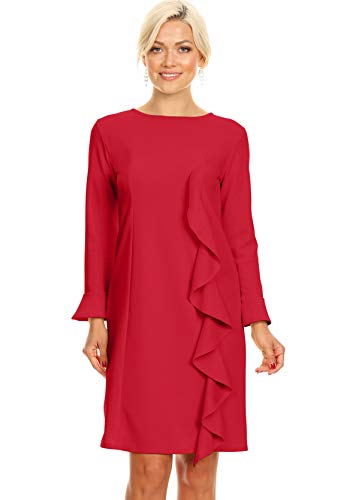 Red Party Dresses for Ladies Cocktail Sheath Semi Formal Long Sleeve Red Dress (Size XXX-Large US 16-18, RED)