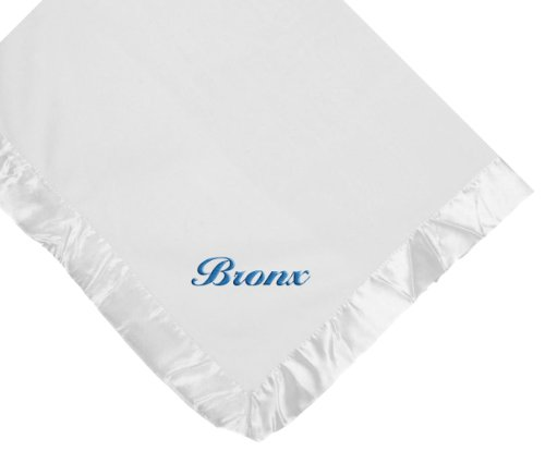 Bronx Boy Name White Embroidered Embroidery Microfleece Satin Baby - Stores Bronx