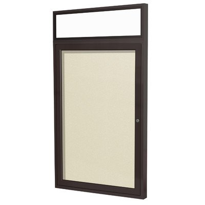 Ghent 36 x 36 Inches Outdoor Bronze Frame Enclosed Vinyl Bulletin Board with Headliner , Ivory , Made in the USA