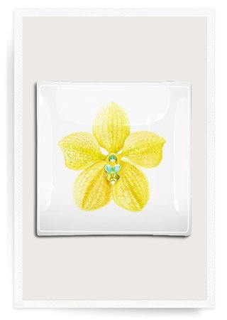 (Yellow Orchid Decoupage Glass Tray)