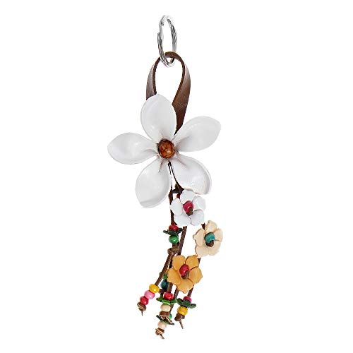 Key Ring Leather Flower - AeraVida Hanging White Bouquet of Leather Flowers & Wood Accented Key Chain or Key Ring