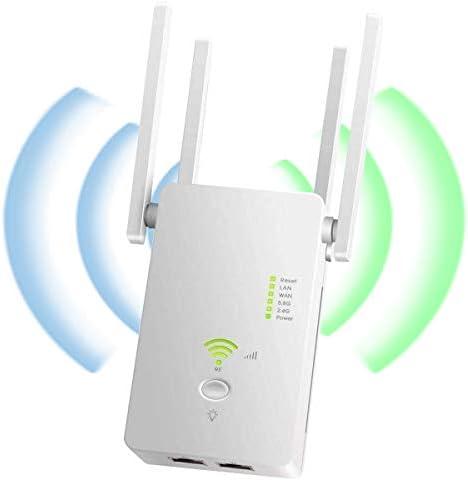 YingStar Repetidor de Red WiFi Double Bandas 1200M Amplificador de Señal Inalámbrico Extensor de Red WiFi con WPS Modo Punto de Acceso 4 Antenas ...