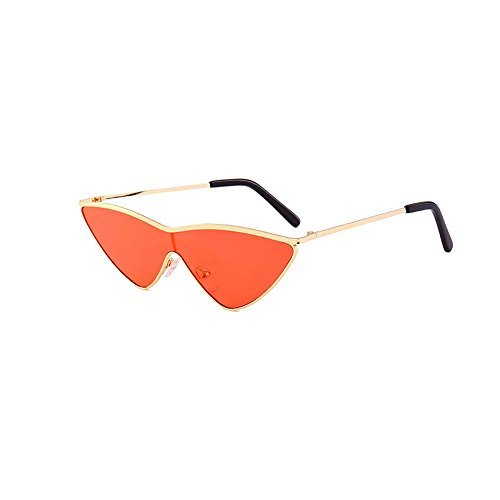 MINCL/Red Triangle Sunglasses Women Cat eye Metal One Piece Lens Small Sun Glasses - Face Triangle Glasses