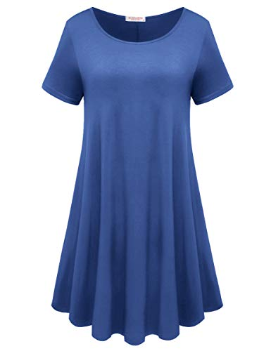BELAROI Womens Comfy Swing Tunic Short Sleeve Solid T-Shirt Dress (L, Steel Blue)