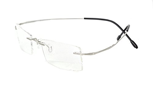 - Rimless Titanium Frame Reading Glasses - High Hardness Lens - Coating Lens(Anti-glare)(silverF +1.5)