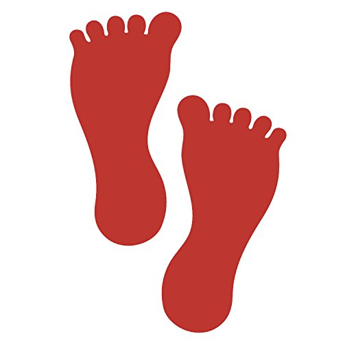 LiteMark 7 Inch Red Removable Barefoot Footprint Decal Stickers for Floors and Walls - Pack of 12 (6 Pairs) (Store Aisle Signs)