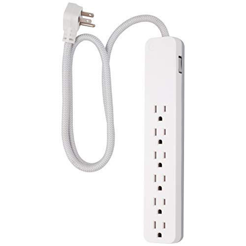 GE UltraPro 6 Outlet Surge Protector, 3 Ft Designer Braided Extension Cord, Flat Plug, Long Power Cord, Wall Mount, White, 41352