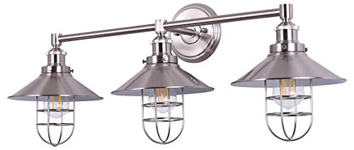 Three Light Sconce 3 Bulb - Marazzo 3 Light Bathroom Wall Sconce | Brushed Nickel Hallway Wall Light with LED Bulbs LL-WL63-1BN