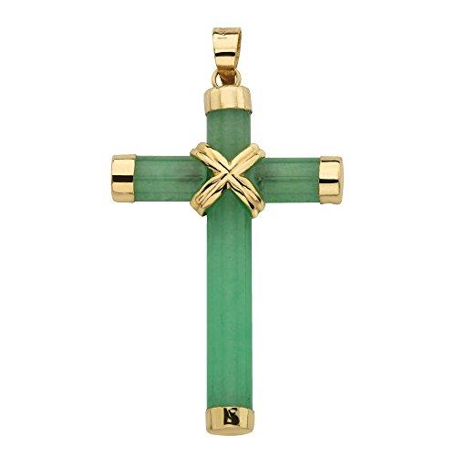 10K Yellow Gold Genuine Jade Cross Pendant (20x38mm)
