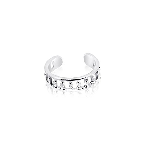 Sterling Silver 925 Crown Design Toe Ring. Nickel Free Adjustable Fit Solid Band One Size Fits All