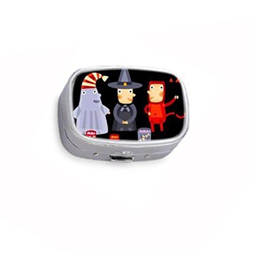 Please Take One Halloween Candy Custom Unique Silver square Pill Box Medicine Tablet Organizer or Coin Purse ()