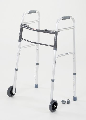 cardinal-health-cwal0008t-dual-release-walker-with-single-wheels-in-front-aluminum-300-pound