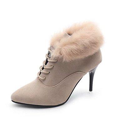 RTRY Zapatos De Mujer Feather/ Piel Cuero De Nubuck Confort Invierno Primavera Moda Botas Botas Stiletto Talón Señaló Toe Botines/Botines Lace-Up US6 / EU36 / UK4 / CN36