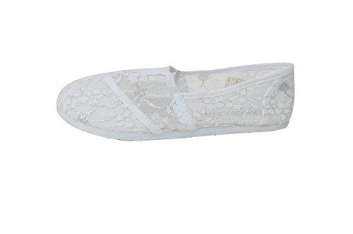 Schoenveter Dames Slip Op Foral Lace Flats Schoenen Canvas Net Ballerina Strass Plat Casual Boot 15-wit