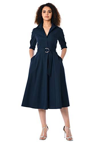 eShakti FX Belted poplin midi Shirtdress Deep ()