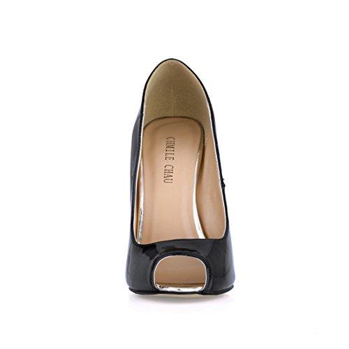 CHMILE CHAU Damenschuhe-Pumps Stiletto-Dünne Fersen-Hoher Absatzschuhe-Metall Absatz-Sexy-Modisch-Abiball-Brautschuhe-Abendschuhe-Peep Toe Negro-Pearl