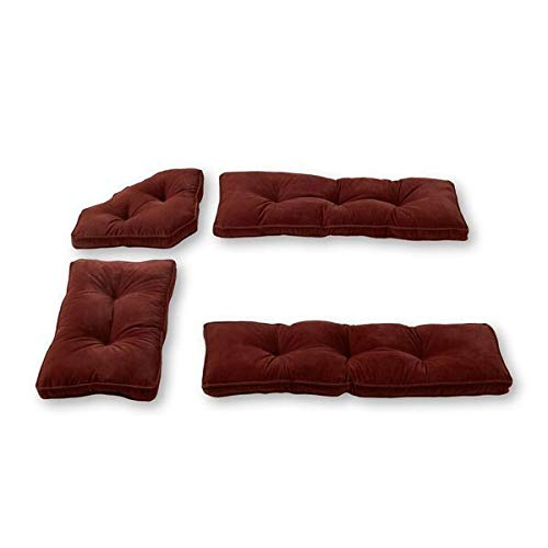 - MISC 4pc Red Burgundy Dining Nook Cushions Set Breakfast Nook Chair Pads Tufted Thick Solid Trestle Short Long Bench Corner, Microfiber Nylon
