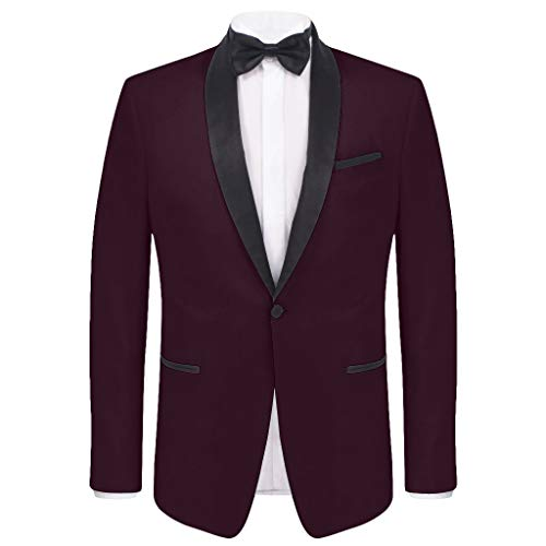 COOFANDY Men's Slim Fit Blazer Jacket Casual One Button Suit Coat Wine Red