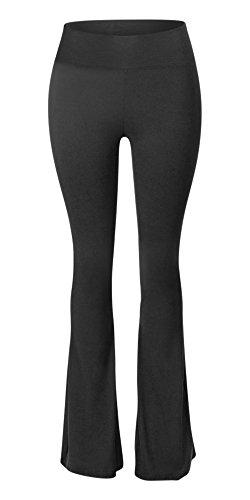 Sejora Satina High Waisted Flare Palazzo Wide Leg Pants | Printed & Solid | reg & Plus (Medium, 1 Black) by Sejora (Image #1)