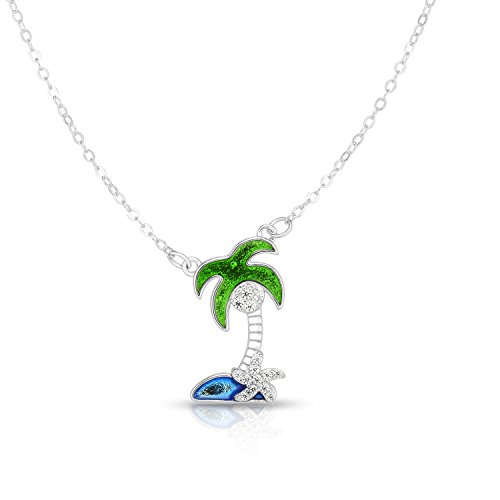 Enamel Tropical Fish Charm - Unique Royal Jewelry Solid Sterling Silver Cubic Zirconia Palm Tree Star Fish Adjustable Length Pendant Necklace (Natural Silver)