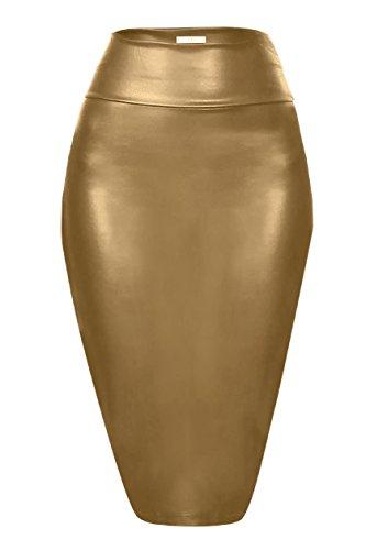 Scuba Pencil Skirt Midi Bodycon Skirt Below Knee Skirt, Office Skirt High Waist Gold Leather Small