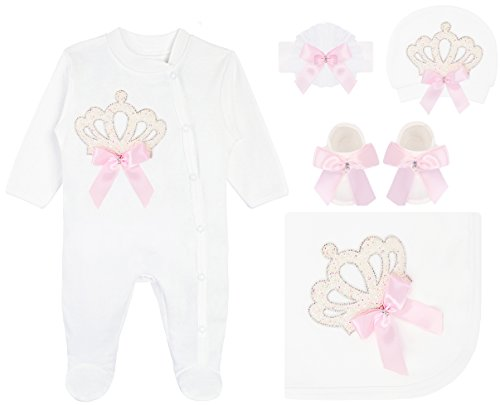 Lilax Baby Girl Newborn Crown Jeweled Pink Shimmer Layette 5 Piece Gift Set 0-3 Months