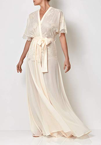 Millesime Full Length Lace Dressing Gown | Loungewear Long Robe with Lace, Ladies Dressing Gown Plus Size, Luxury Gifts for Women, Bride Robe with Lace, Wedding Robe | Cotton & Lace