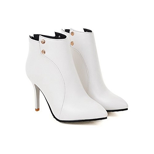Closed Boots White Stilettos Toe Solid Spikes WeenFashion Low Top Women's Pointed Pu EPxqpv