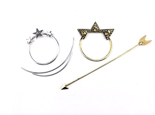 Bronze Long Arrow and Silver Star Pierced Barrette Hair Fork Stick Hair Pin ()