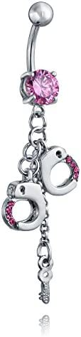 CZ サージカルスチール製 ピンク 手錠と鍵 バナナバーベル型 へそピアス ボディピアス 14ゲージ