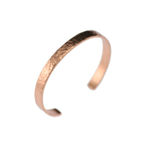 John S Brana Designer Jewelry Hammered Copper Cuff Bracelet Durable Copper - Lightweight - 100% Uncoated Solid Copper (7.5 Inches)