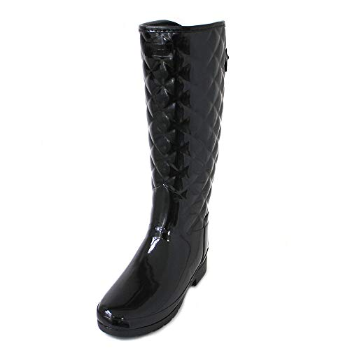 - Hunters Boots Women's Refined Quilted Tall Boots, Black, 9 M US