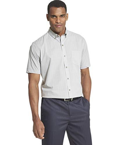 Van Heusen Men's Flex Short Sleeve Button Down Check Shirt, Grey Full Moon, XX-Large