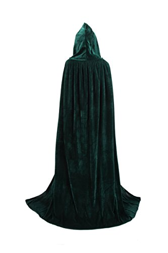 TULIPTREND Full Length Hooded Cloak Christmas Halloween Cosplay Costume CapeUS S (tag size M (M=130cm) Hunter Green