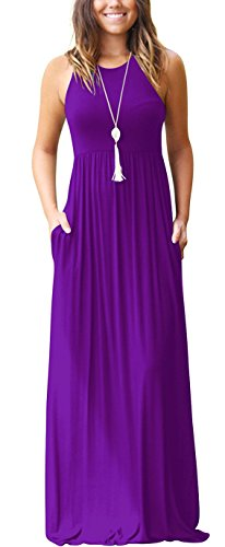 GRECERELLE Women's Round Neck Sleeveless A-line Casual Maxi Dresses with Pockets Purple-XL