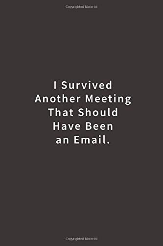 I Survived Another Meeting That Should Have Been An Email.  Lined Notebook