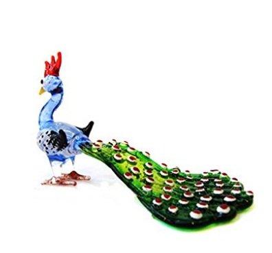 Handmade Animal Figurine Art Glass Blown Beautiful Peacock ( Blue) Best Gift Figurine Collection