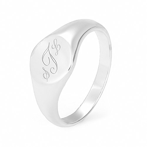 Petite Round Sterling Silver Signet (Initial Monogram Ring)