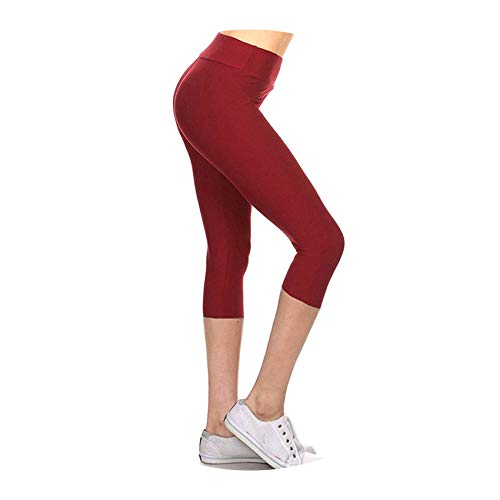 Cyan lemon 1 Pcs Women Solid Color Slim Pants Leggings Stretchy for Summer Running Sports,M Red]()