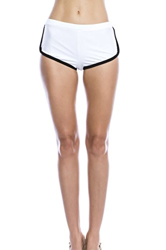 Basico Women Rash Guard Pants & Boyshorts Swimsuit Surfing Rash Guard Bottom (Small, B51 - White / Black)